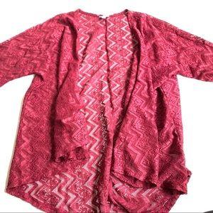 LuLaRoe red lace cardigan cover up large